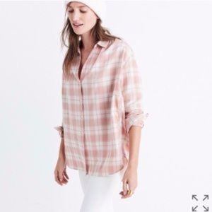 Madewell Pink Plaid Button Down Top